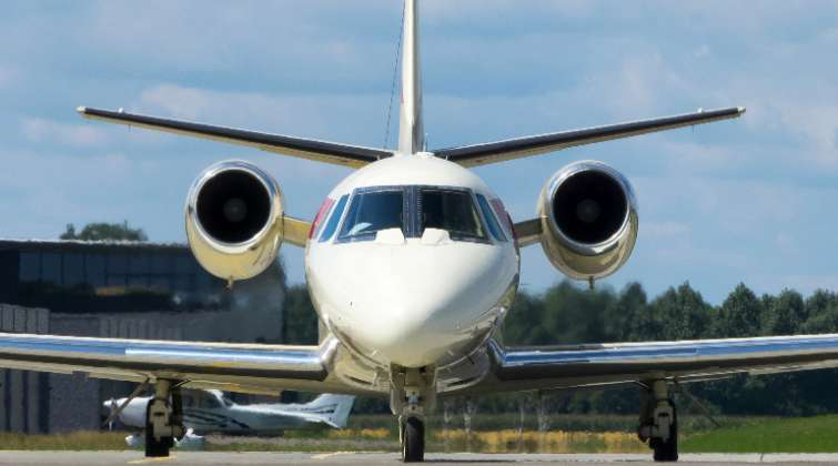 Pictured here is a Cessna Citation Excel, which is in the comfortable medium charter jet category.
